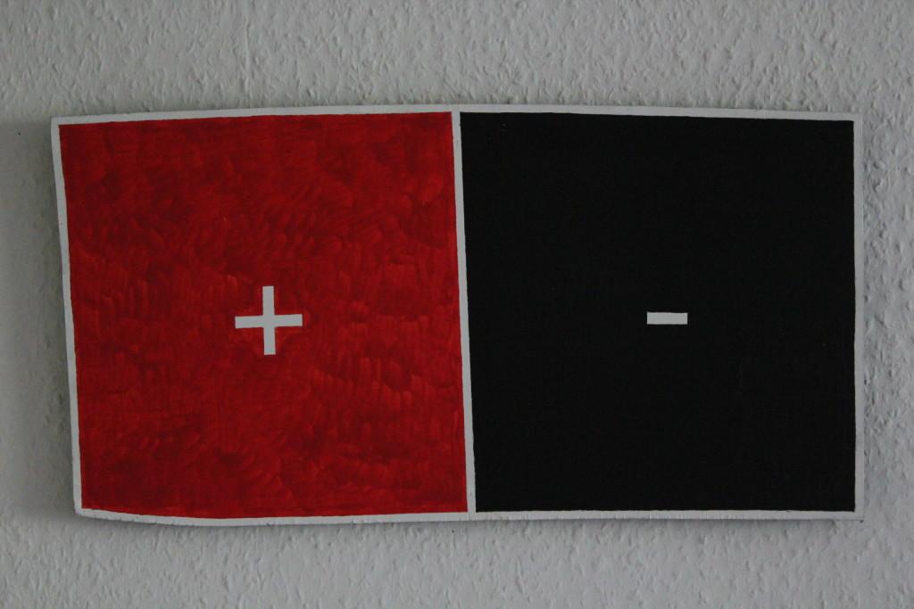 """WVZ 2-5-18, Acryl auf Kiefer-Sperrholz, """"christlicher Auto-Akku"""", 2018, ca. 50,5 x 26"""