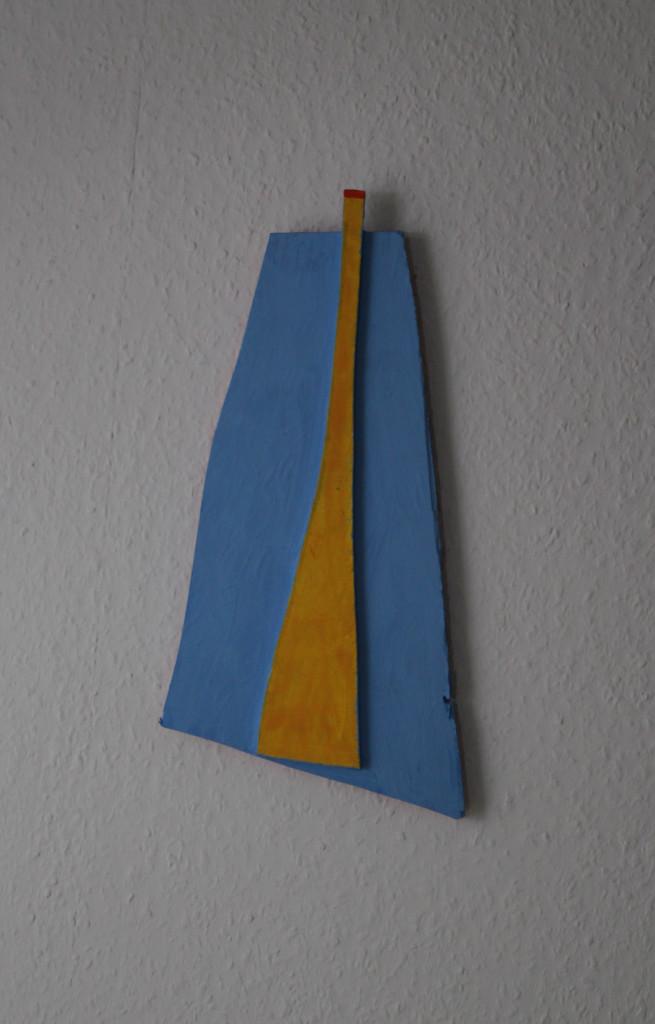 "WVZ 4-7-18, Acryl auf Sperrholz, Relief, ""missglückter Obelisk"", 2018, ca. 18 x 38"