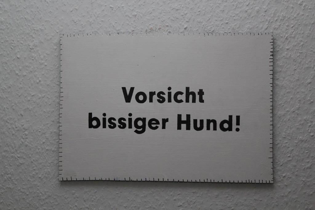 """WVZ 4-8-18, Acryl, Faserstift auf Sperrholz, """"Objekt: """"Vorsicht bissiger Hund!"""", 2018, 38 x 26,5"""